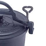 Казан чавунний емальований 15 л з кришкою Kamille KM 4808M на ніжках для приготування їжі на вогні і плиті, фото 6