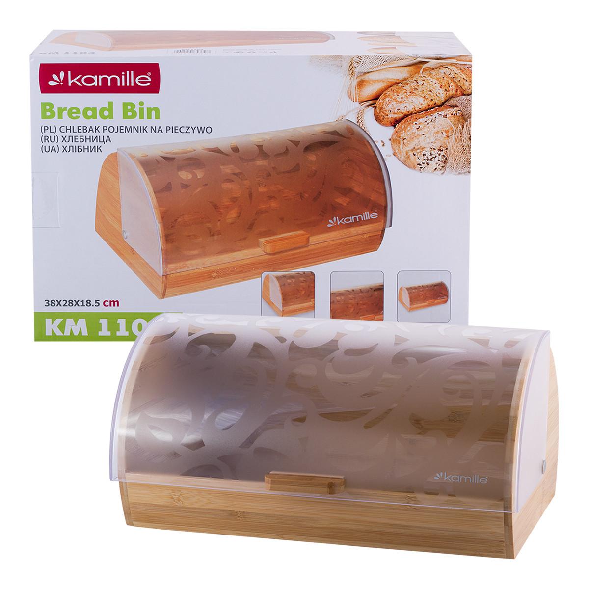 Хлебница из бамбука с пластиковой крышкой Kamille KM-1104 (39 см)