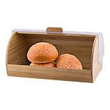 Хлебница из бамбука с пластиковой крышкой Kamille KM-1104 (39 см), фото 2