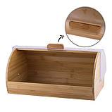 Хлебница из бамбука с пластиковой крышкой Kamille KM-1104 (39 см), фото 4