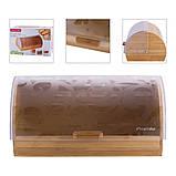 Хлебница из бамбука с пластиковой крышкой Kamille KM-1104 (39 см), фото 5