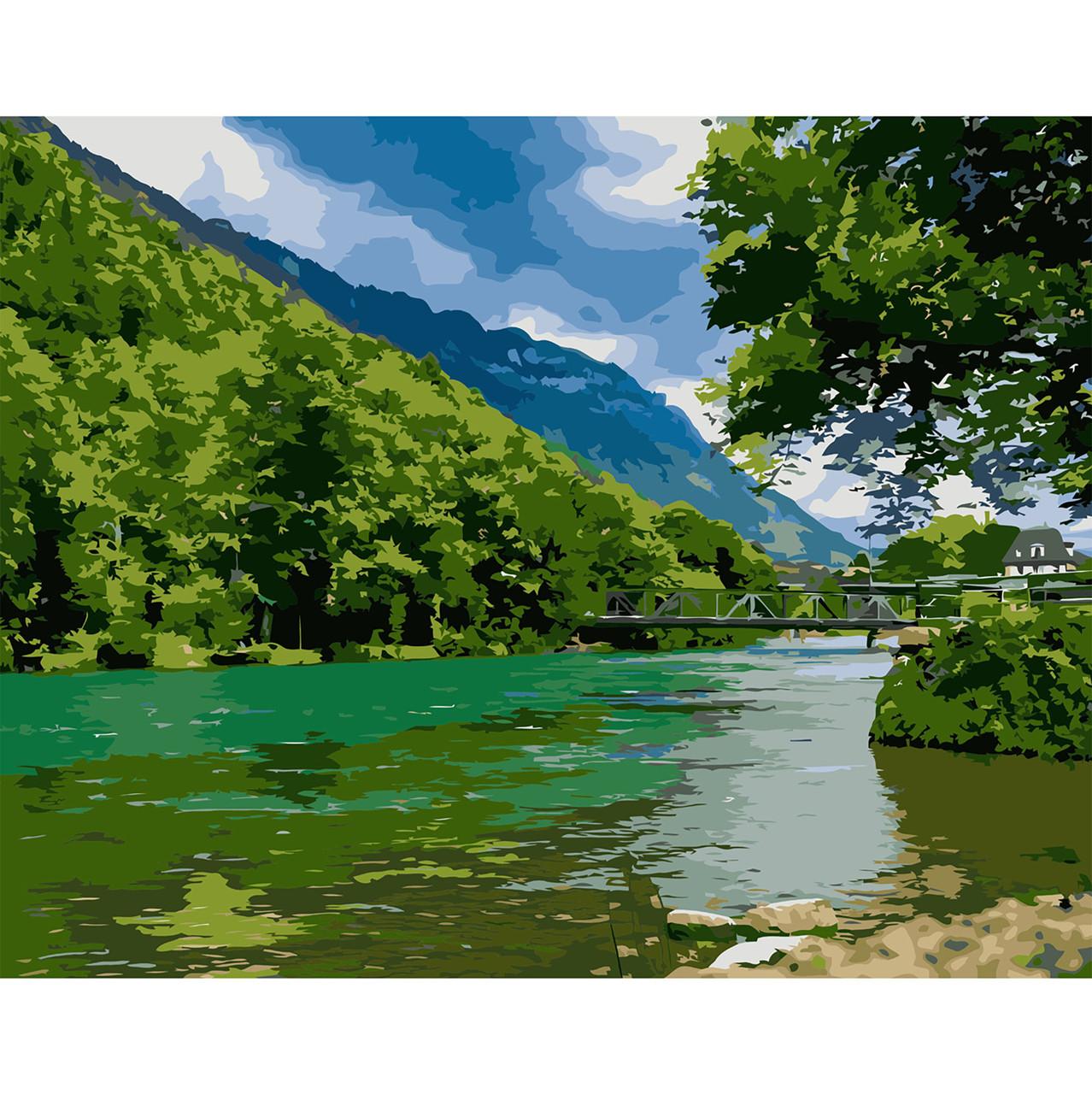 Картина за Номерами Яскравий зелений пейзаж 40х50см Starteg в коробці