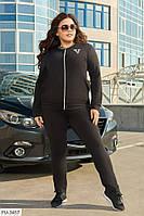 Спортивный костюм женский удобный повседневный черный кофта на молнии и штаны больших размеров 50-64 арт. 718, фото 1