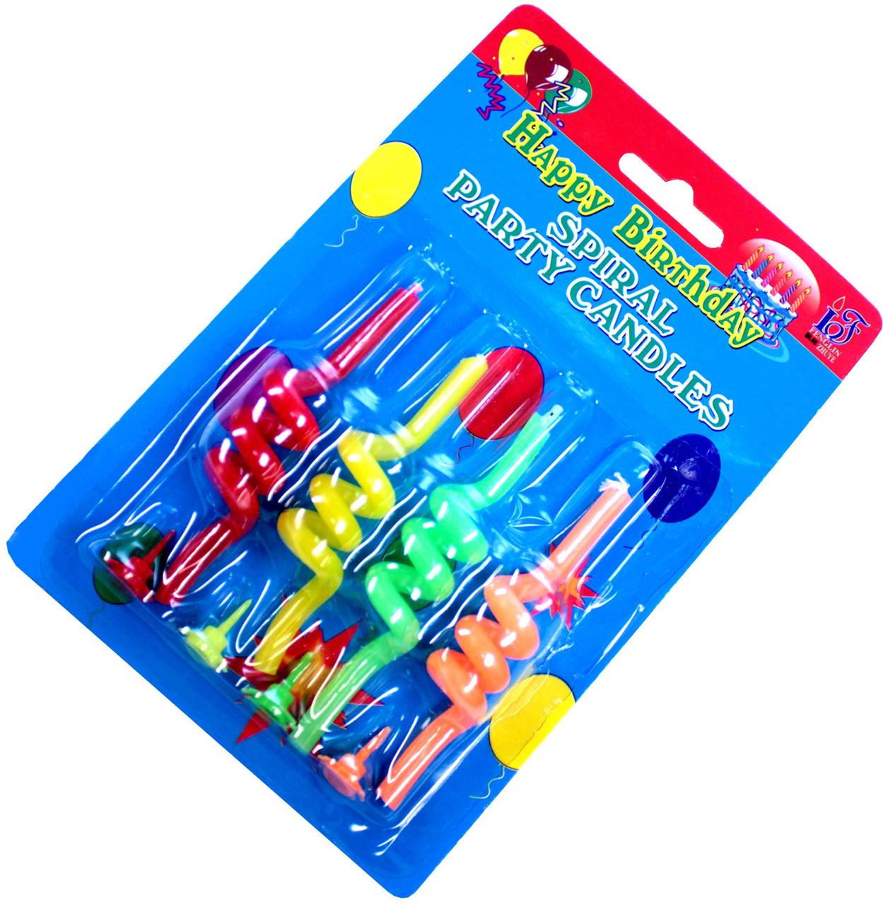 """Свечи для торта """"Спиральки"""" (4шт) цветные"""