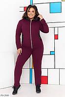Спортивний костюм жіночий однотонний повсякденний кофта на блискавці великого розміру батал 50-64 арт.716, фото 1