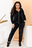 Велюровый классический спортивный женский костюм на осень с застежкой большие размеры батал 50-64 арт.  713, фото 1