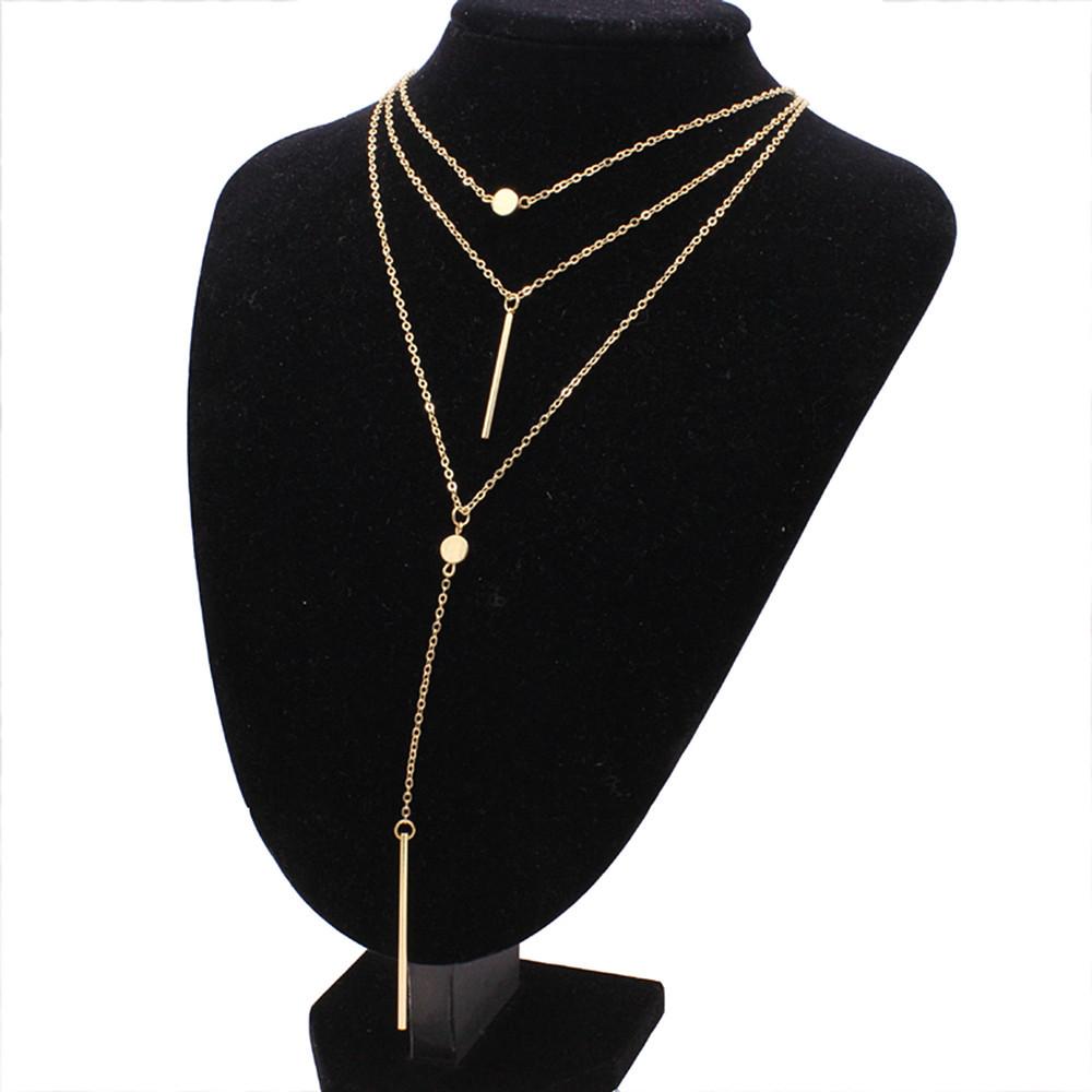 Багатошарова жіноча золотиста ланцюжок з підвісками код 2115