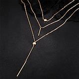 Багатошарова жіноча золотиста ланцюжок з підвісками код 2115, фото 4