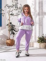 Стильный прогулочный костюм женский спортивный кофта на молнии и джоггеры больших размеров 50-60 арт.455/1