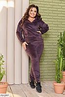 Стильный молодежный велюровый спортивный костюм женский осенний больших размеров батал 48-58 арт.  101