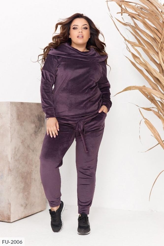Гарний велюровий прогулянковий спортивний костюм жіночий з капюшоном великих розмірів 48-58 арт. 100