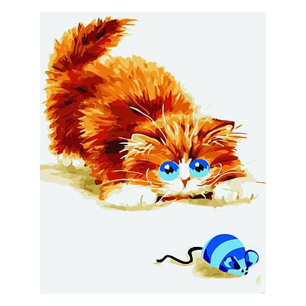 Дитяча Картина за Номерами Рудий котик із мишкою 30х40 см Strateg, фото 2