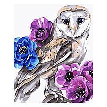 Детская Картина по Номерам Акварельная сова с цветами 30х40 см Strateg