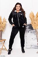 Стильный велюровый прогулочный костюм женский спортивный черный на молнии больших размеров 48-54 арт. 1041/130
