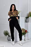 Эффектный женский спортивный костюм королевский велюр с кофтой на молнии большие размеры  48-54 арт. 1041/129