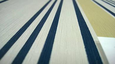 Виниловые обои Carnaby в полоску, синего цвета на бумажной основе. Артикул 42617