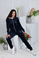 Красивый осенний велюровый прогулочный спортивный костюм синий больших размеров р-ры 48-54 арт. 1041/128