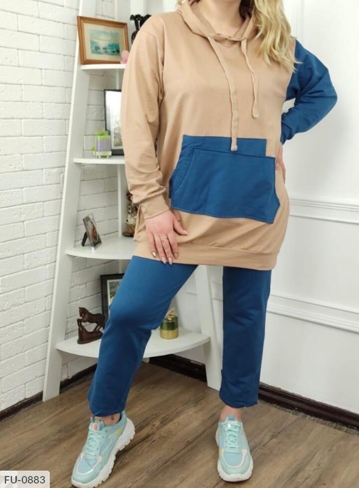 Жіночий спортивний костюм на осінь двуніткі з довгою кофтою-худі великих розмірів 50-54 арт. 0881/0883