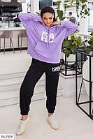 Женский спортивный костюм свободный осенний укороченное худи с капюшоном и штаны размеры батал 48-54  арт.1024