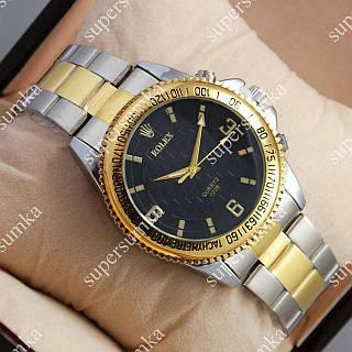 Классические наручные часы Rolex Quartz 022 Silver-gold/Black 20002