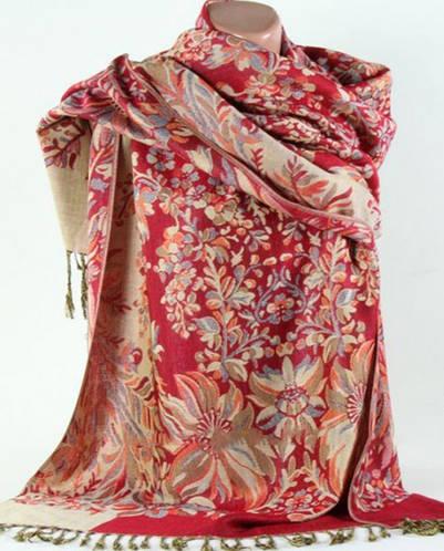 Красивая жаккардовая шаль  из пашмины Traum 2493-31
