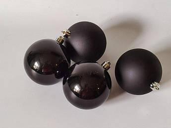 Новогодние игрушки. Шар черный, 8 см. 4 шт