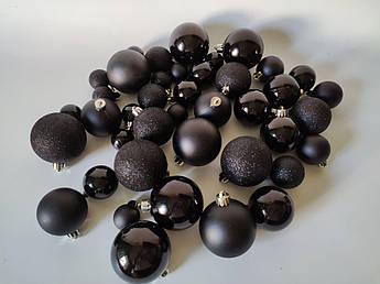 Набор новогодних елочных шаров, черный. Микс. 40 шт