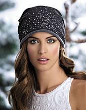 Женская теплая трикотажная модная шапка со стразиками Dorothy Willi.