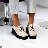 Бежеві туфлі жіночі туфлі на товстій підошві низький хід 40-26см, фото 6