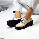 Бежеві туфлі жіночі туфлі на товстій підошві низький хід 40-26см, фото 8