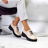Бежеві туфлі жіночі туфлі на товстій підошві низький хід 40-26см, фото 9