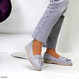 Классические серые замшевые женские мокасины натуральная замша 36-23,5 см, фото 5