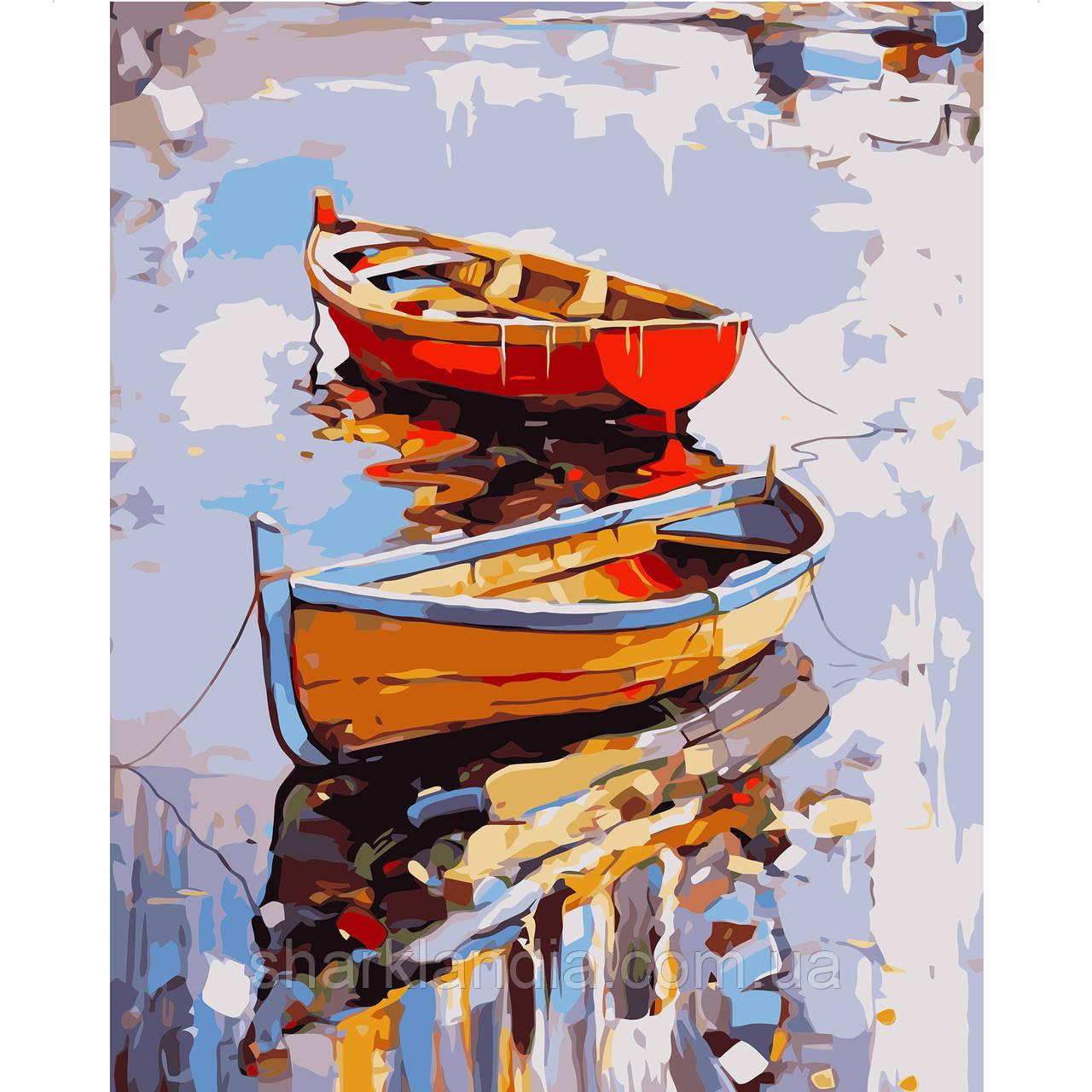 Картина по Номерам Одинокие лодки 40х50см Strateg Раскраска по цифрам