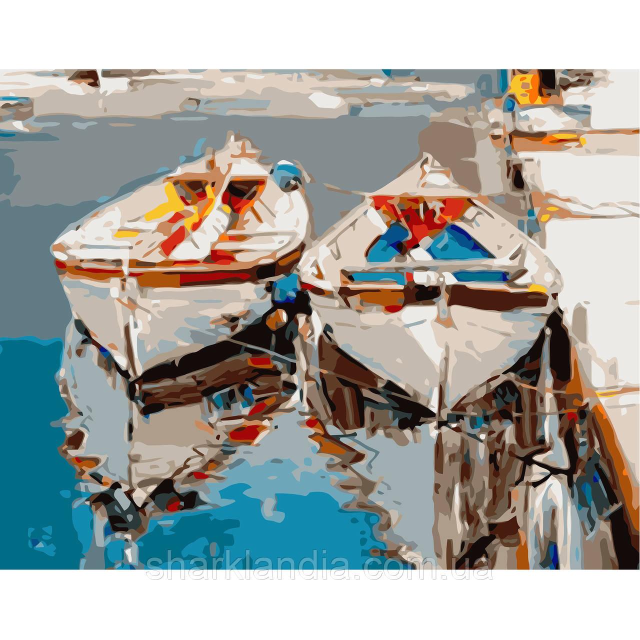 Картина по Номерам Пара белых лодок 40х50см Strateg Раскраска по цифрам