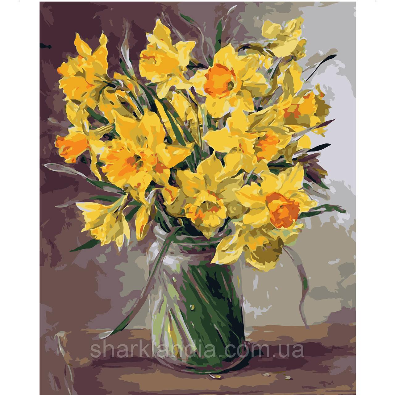 Картина по Номерам Дачный букет желтых нарцисов 40х50см Strateg Цветы