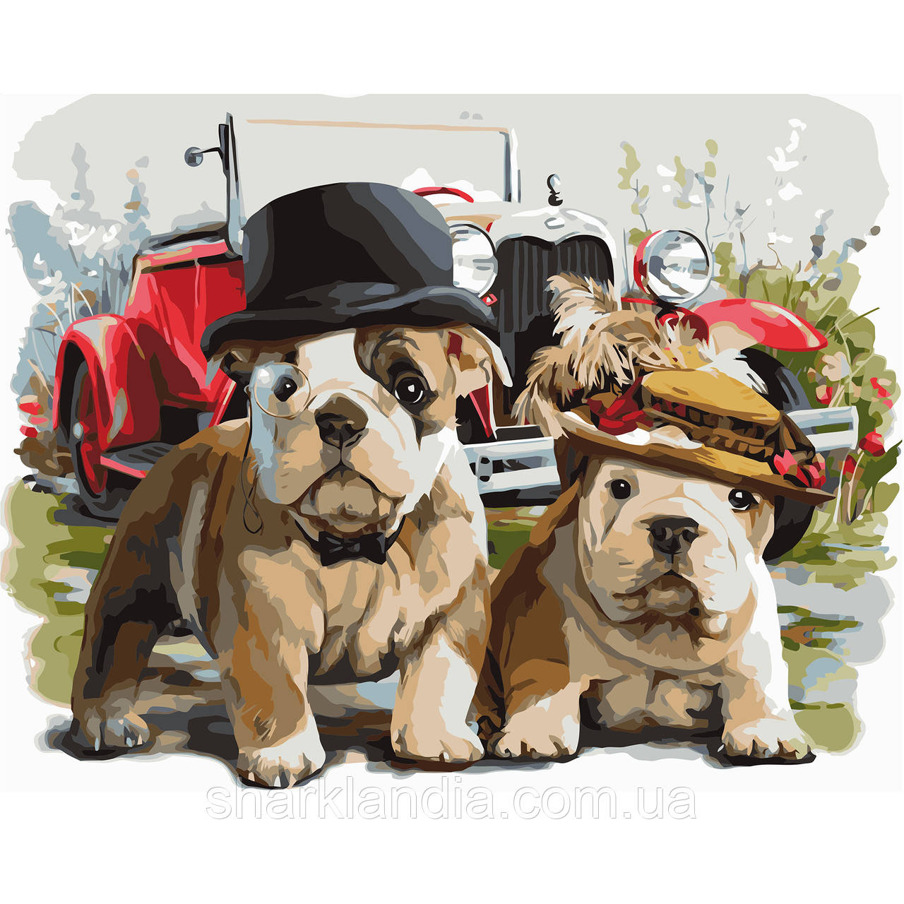 Картина по Номерам Собаки в стиле ретро 40х50см Strateg Раскраска по цифрам