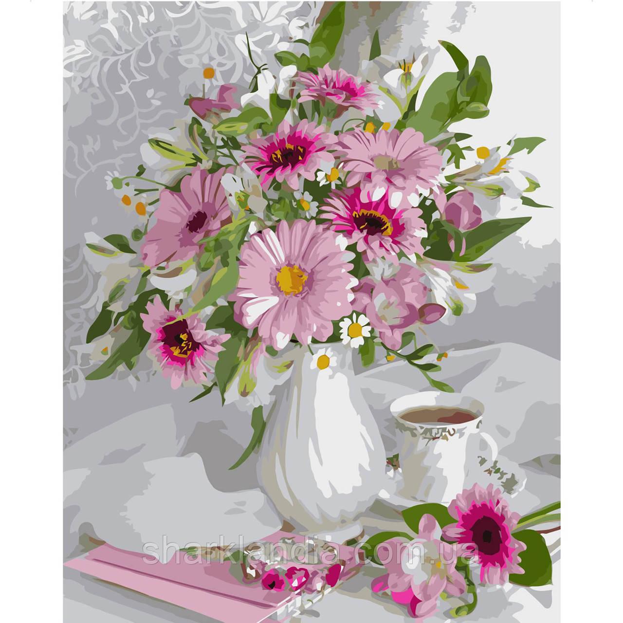 Картина за номером Букет з рожевих гербер 40х50см Strateg Квіти