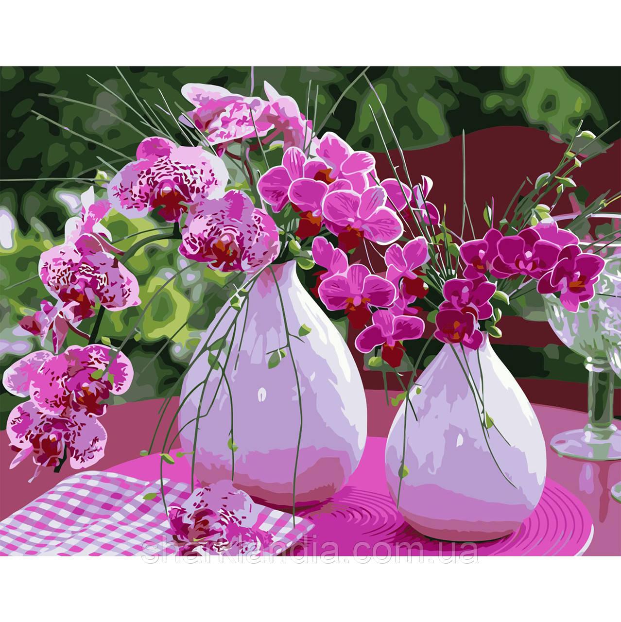 Картина за номером Яскраві орхідеї на столі 40х50см Strateg Квіти