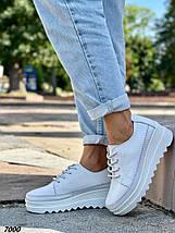 Кроссовки женские кожаные цвет белый демисезон, фото 2