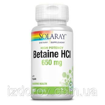 Solaray, Гідрохлорид з пепсином 650 мг, Бетаїн HCL with Pepsin, 100 вегетаріанських капсул. США