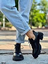 Туфли женские черные натуральная кожа демисезонные низкий ход, фото 3
