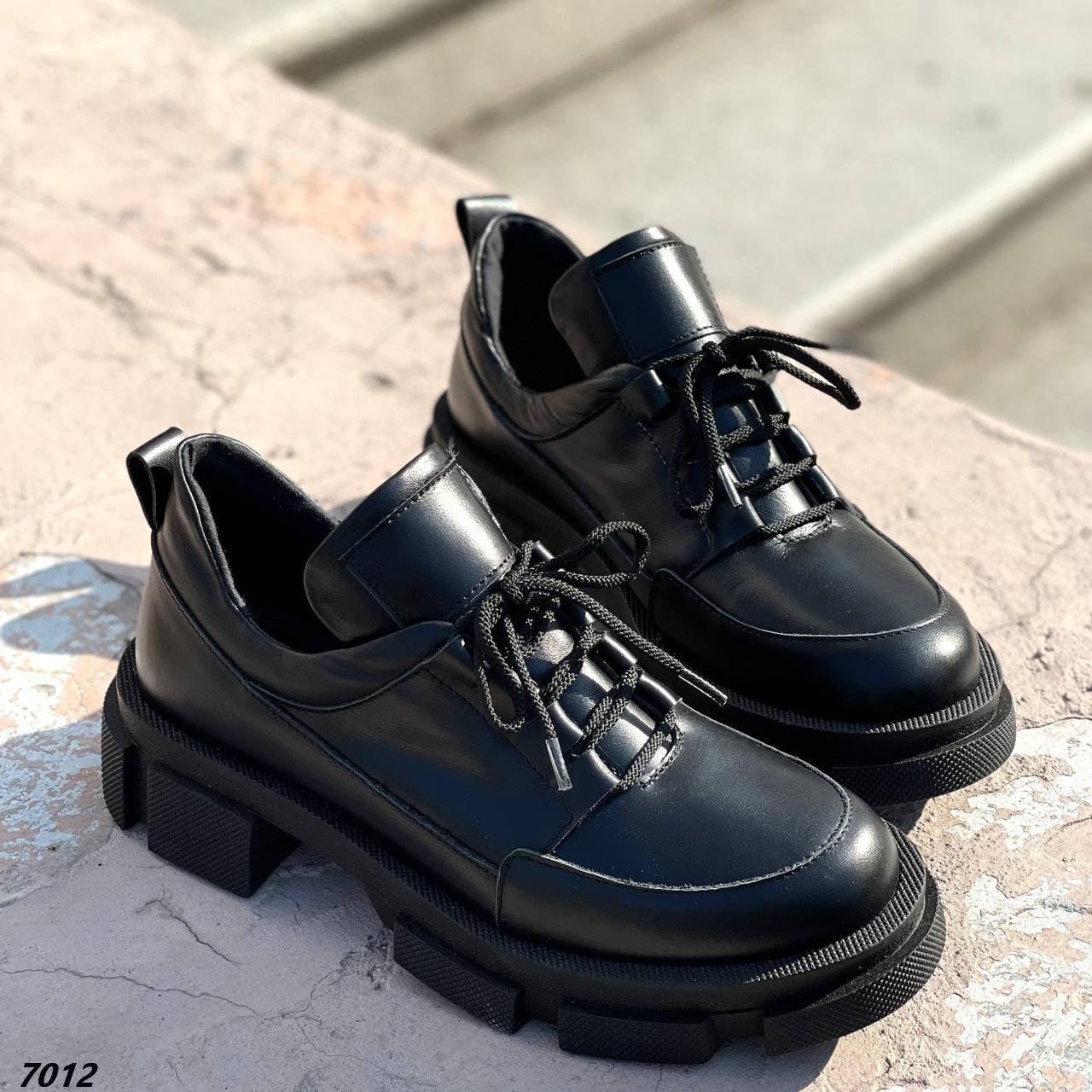 Туфли женские черные натуральная кожа демисезонные низкий ход