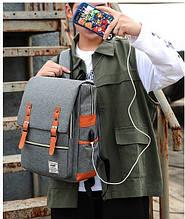 Качественный школьный портфель с юсб. Набор 3 в 1. Мужской рюкзак. Ранец. Сумка через плечо. Клатч. МП4