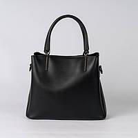 Крута чорна жіноча сумка стильна сувора для ділових леді на плече добротна чорна жіноча сумка, фото 1