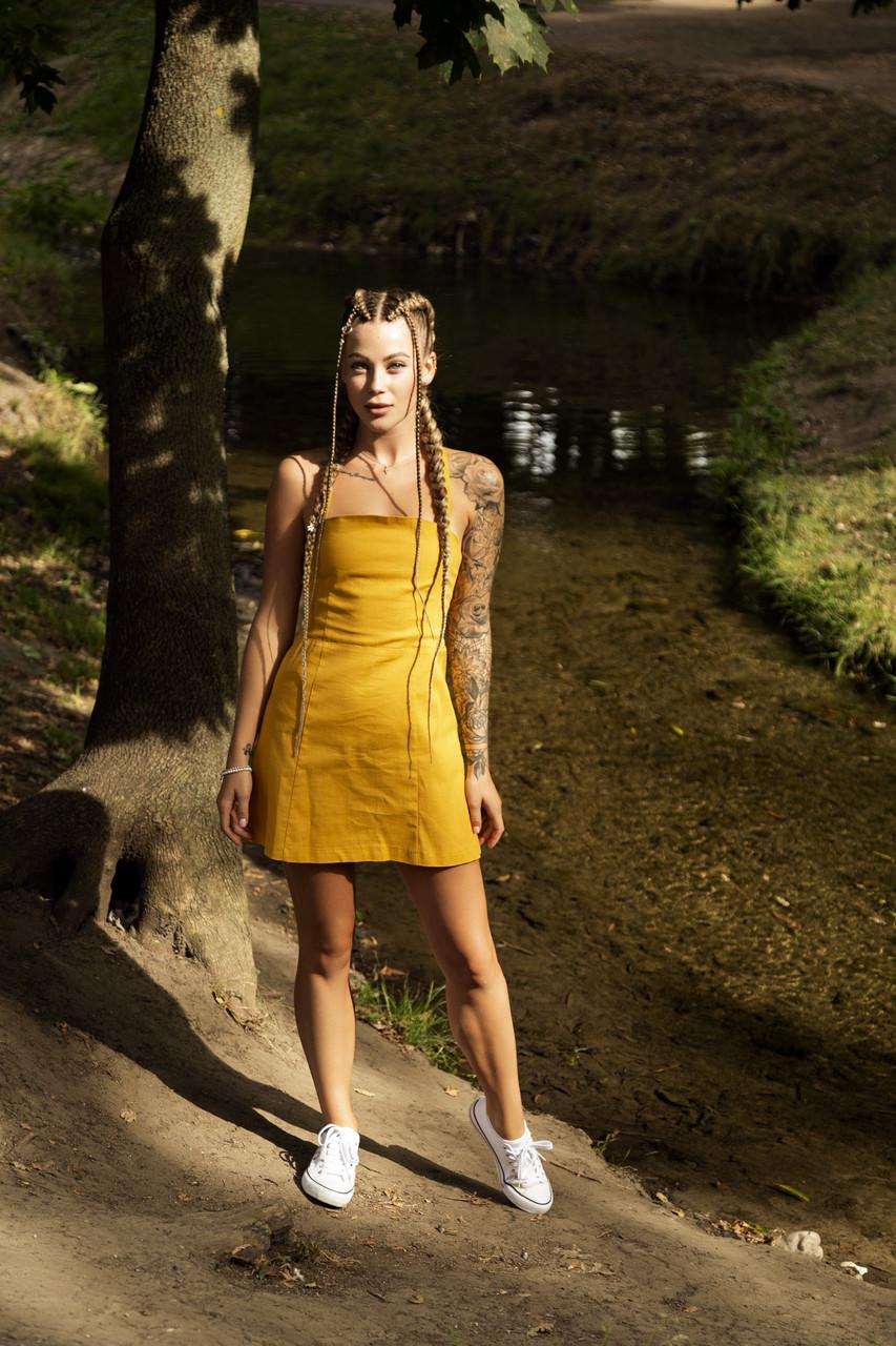 Сукня жіноча сарафан гірчичний Line. Жіноче плаття-сарафан гірчичного кольору.