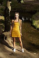 Сукня жіноча сарафан гірчичний Line. Жіноче плаття-сарафан гірчичного кольору., фото 1