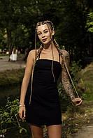 Сукня сарафан жіночий чорний Line. Жіноче плаття-сарафан чорного кольору.