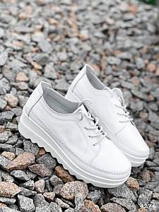 Туфли женские на шнуровке натуральная кожа низкий ход белые