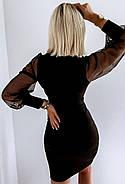 Женское нарядное платье с красивыми рукавами сетка и шикарным декольте, фото 3