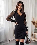 Женское нарядное платье с красивыми рукавами сетка и шикарным декольте, фото 4